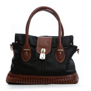 Black and Brown Leather Purse, Blac..