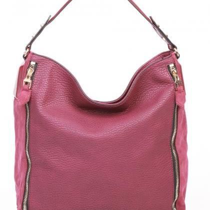 Marsala Leather Tote Handbag. Red H..