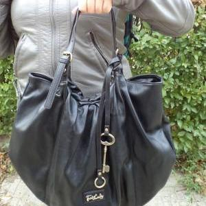 Black Leather Tote, Hobo Handbag, B..