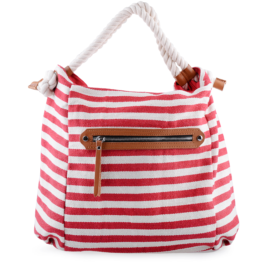 Canvas Tote Bag. Striped Red And White Canvas Handbag. Woman ...