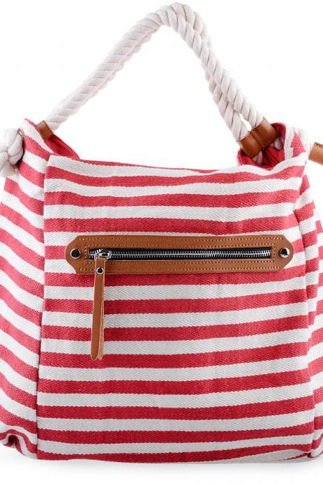Red and White Stripes Canvas Tote Bag with Rope Handles