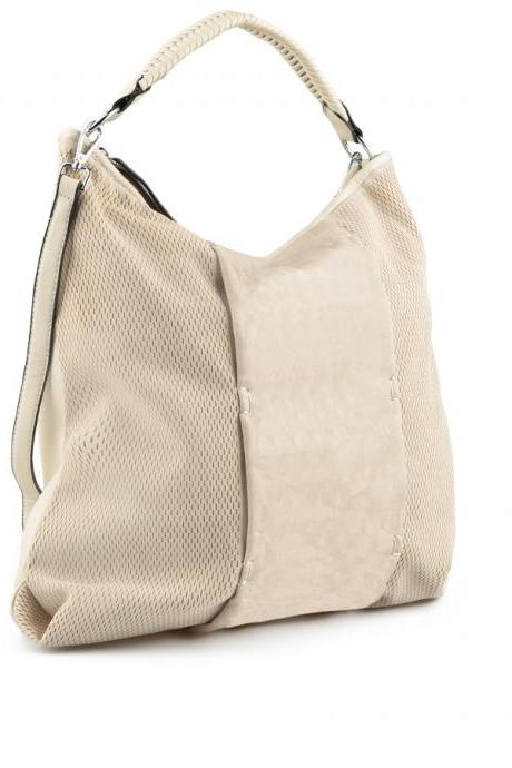 Beige Handbag. Bag with Adjustable Long Handle. Woman Gift. Woman Handbag.
