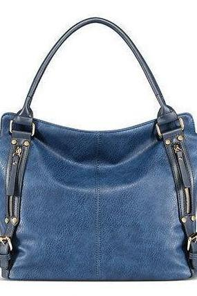 Blue Handbag, PU Leather Handbag, Blue Bag