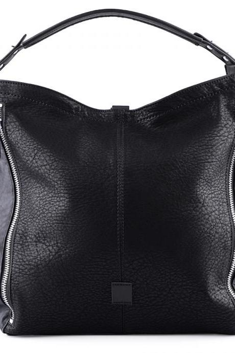 Black Leather Hobo Handbag with Zippers. Black Handbag. Black Leather Purse. Black Tote. Winter-Spring 2015.