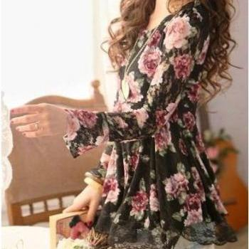 Lace Top, Roses Top, Chiffon Top, Lace Rose Top, Roses Print Top, Rose Prints, Blouse, Tunic, Lace, Rose Pattern Print T-Shirt Lace Floral Tops Long Sleeve Cotton Blouse, Girls Top, Lace Fabric Top, Black Lace Top